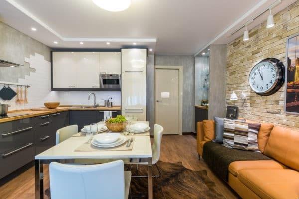 дизайн кухни-гостиной 12-13 кв. м