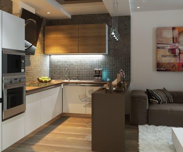 квадратная кухонная мебель