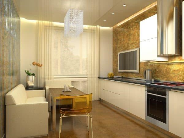 фото прямоугольной кухни-гостиной