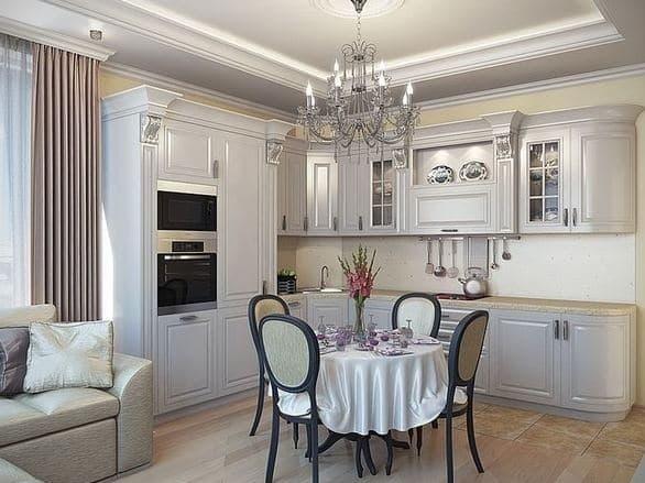 Классическая кухня-гостиная