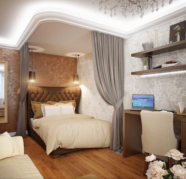 Зонирование спальни-гостиной 3