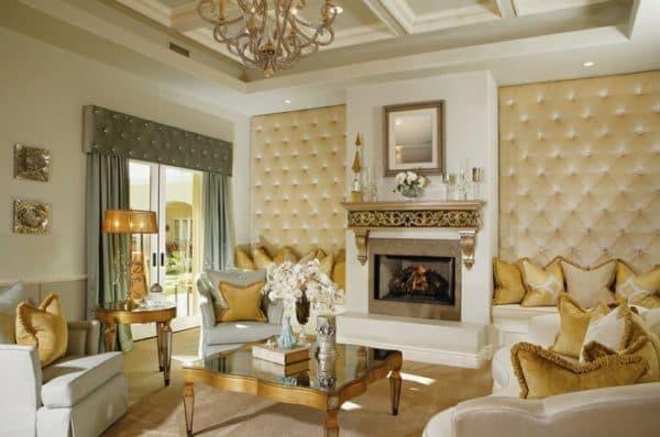 Гостиная в золотом цвете интерьера