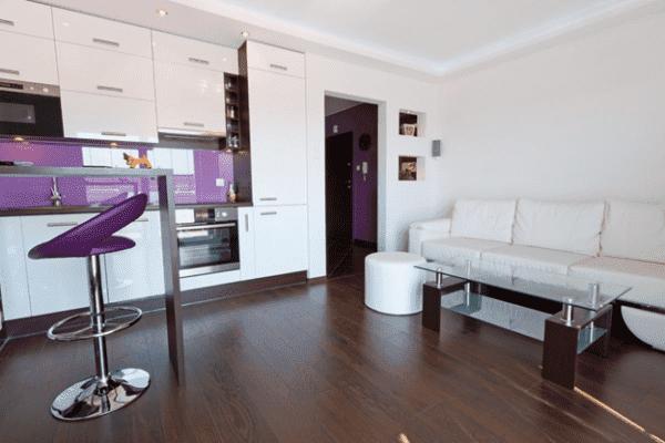 Кухня-гостиная 17 кв. м в стиле хай-тек