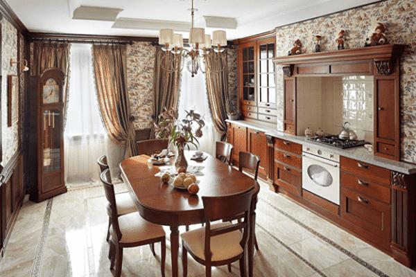 Кухня-гостиная 17 кв. м в стиле современная классика
