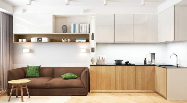 Планировка кухни-гостиной 17 кв. м