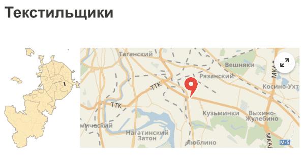 Район Текстильщики на карте