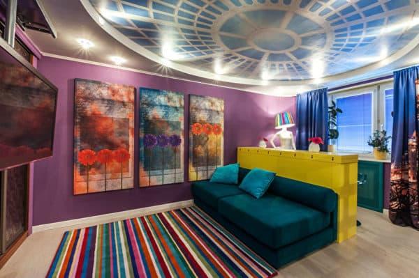 Разноцветная гостиная