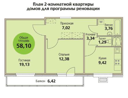 Двухкомнатная квартира по реновации