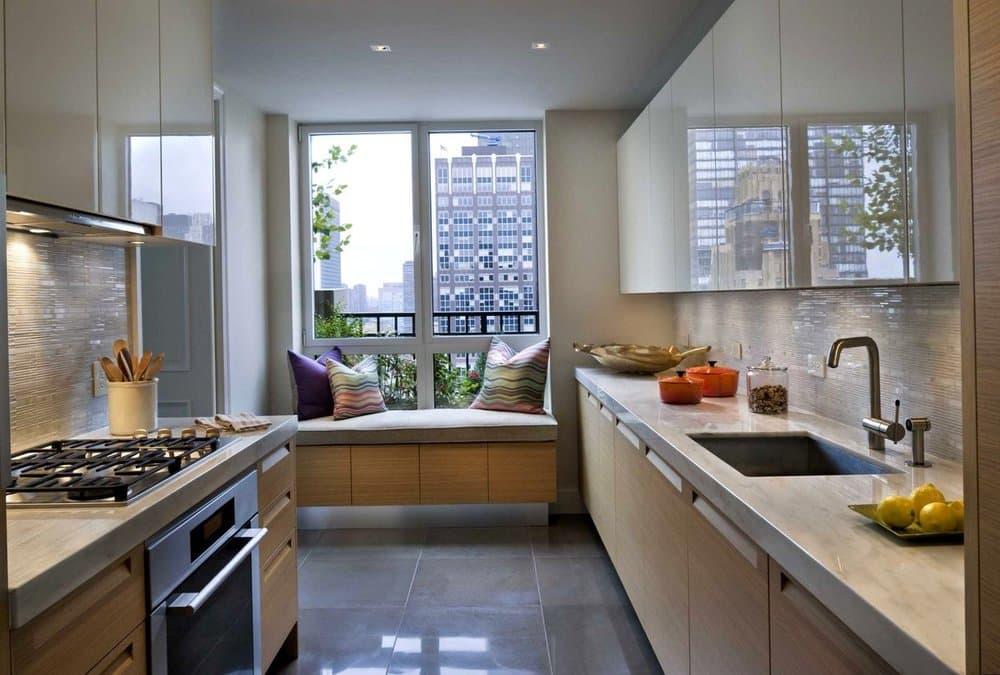 Дизайн прямугольной кухни