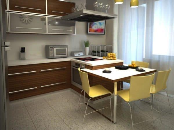 Квадратная планировка кухни