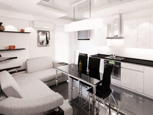 Кухня-гостиная в стиле хай-тек