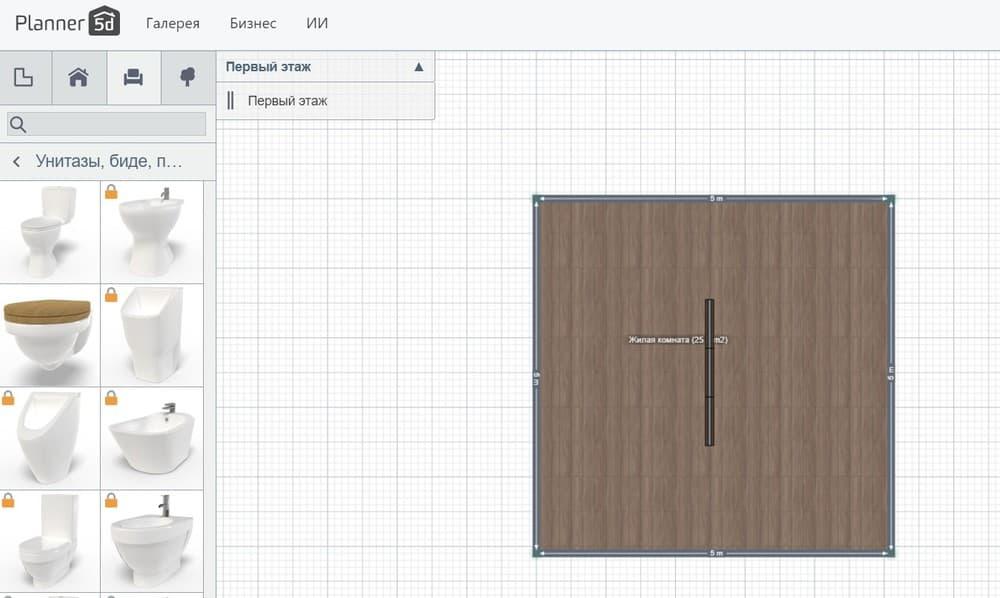 Создание проекта ванной в Planner 5D