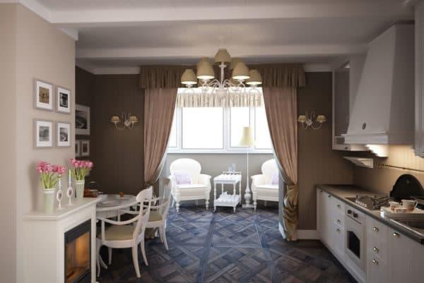 Полное объединение кухни и балкона