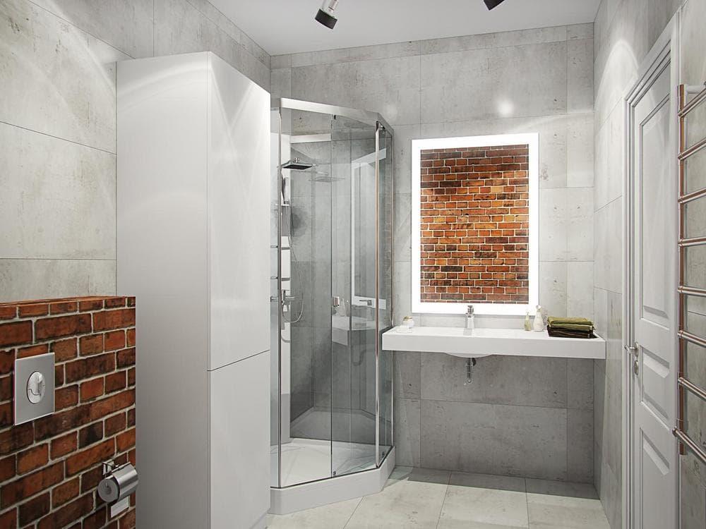 Ванная с душевой кабиной в стиле лофт