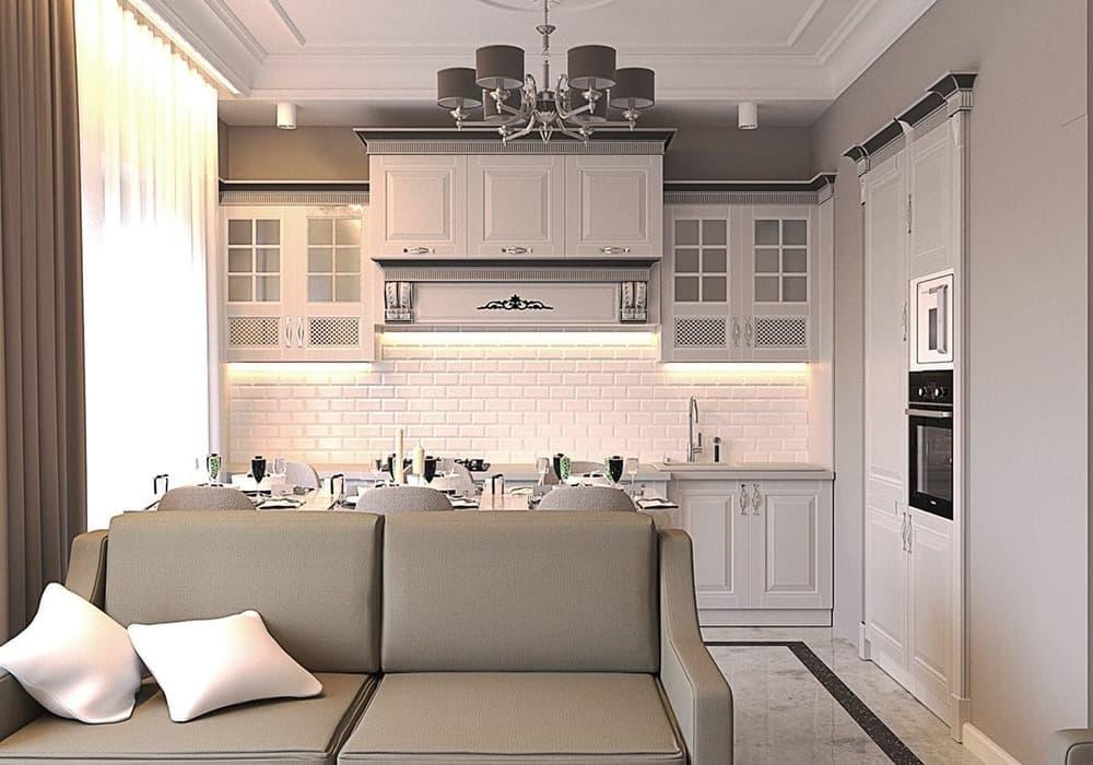 Кухня-гостиная в неоклассическом стиле