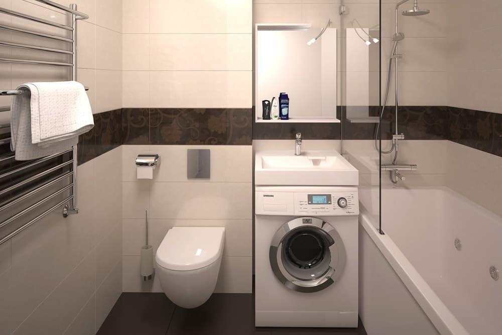 Размещение стиральной машинки в ванной