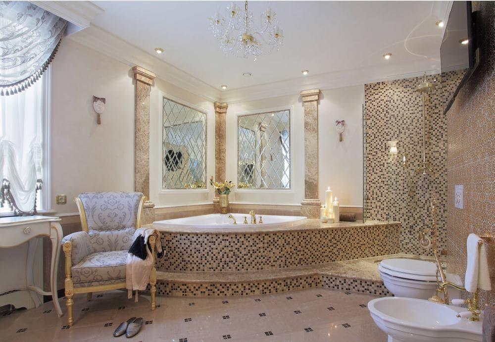 Угловая ванная в классическом стиле