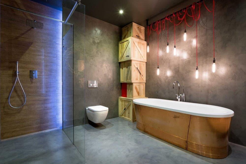 Освещение в ванной в стиле лофт