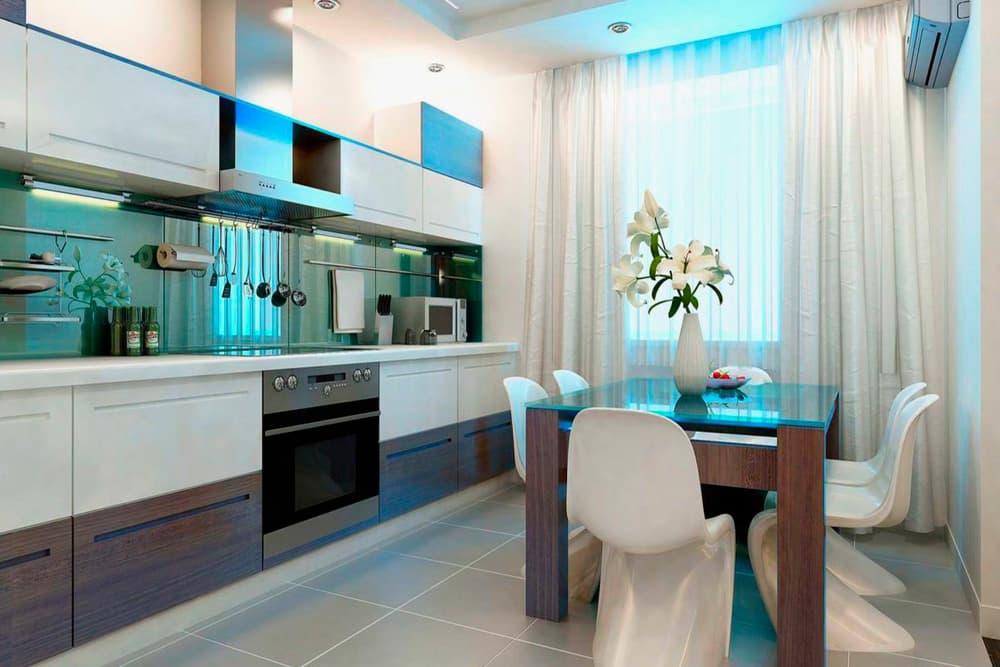 Прямоугольная кухня в стиле модерн
