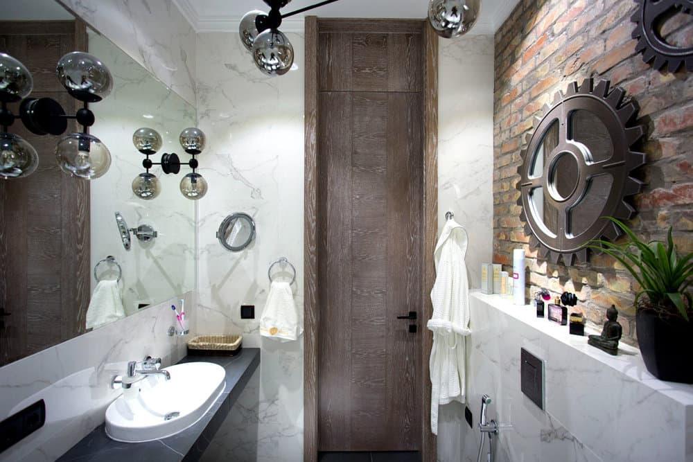 Шестеренки в ванной в стиле лофт