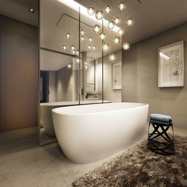 Световое зонирование ванной комнаты