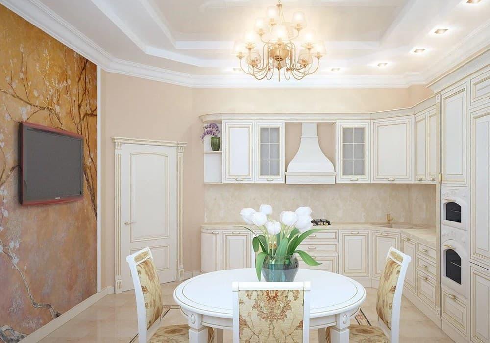 Расстановка мебели в неоклассической кухне