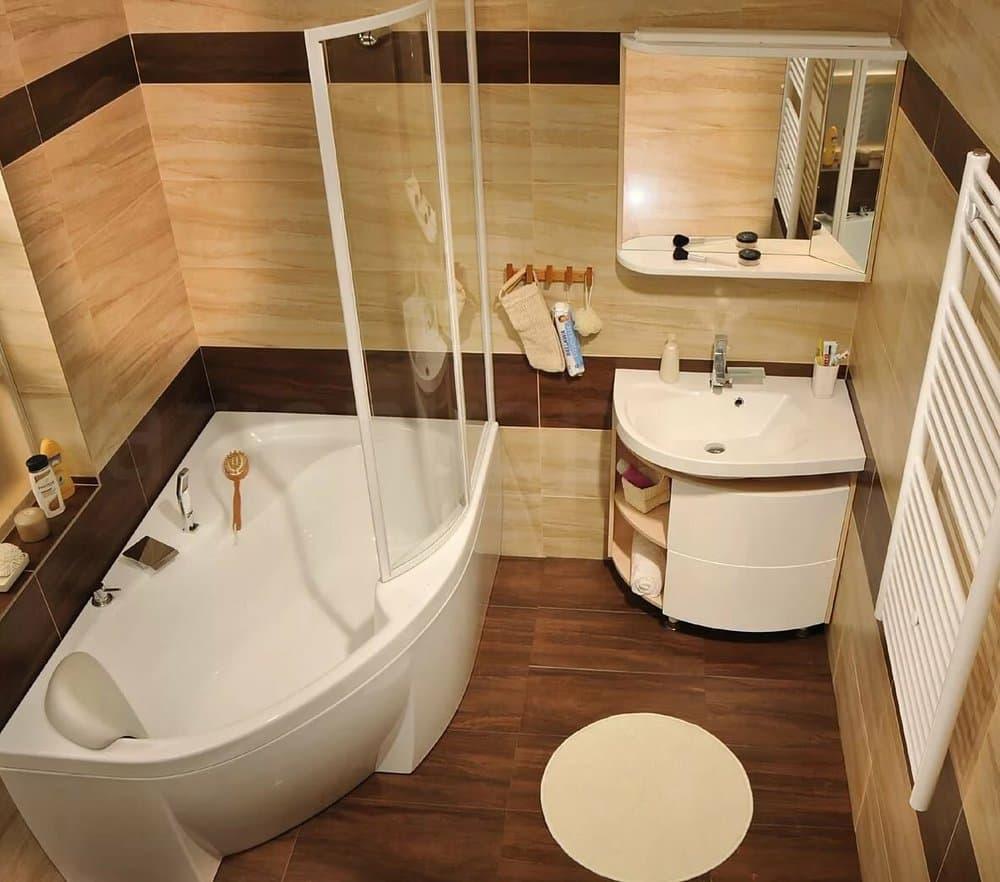 Ванная комната в теплых тонах