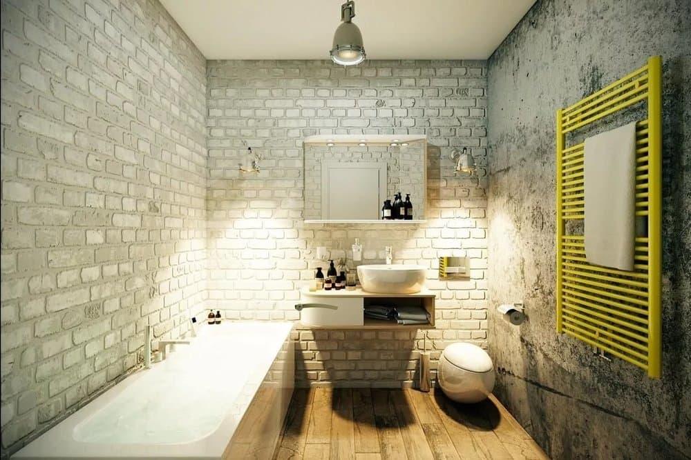 Интерьер ванной с плиткой под кирпич