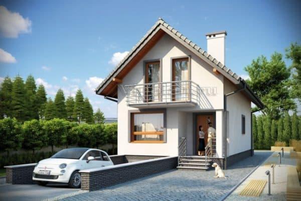 Дом с гаражом на узком участке