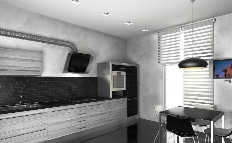 Двухцветный дизайн кухни хай-тек