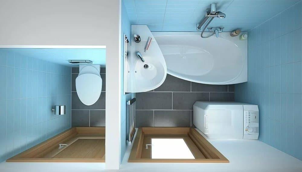 Угловая ванна в маленькой ванной комнате