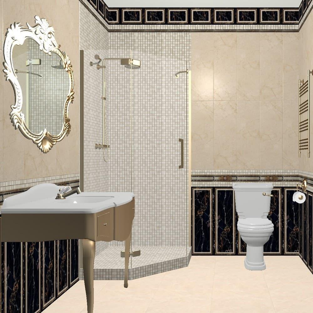 3Д проект ванной комнаты 2