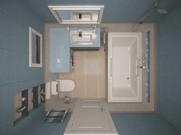 Ванная комната с большой столешницей