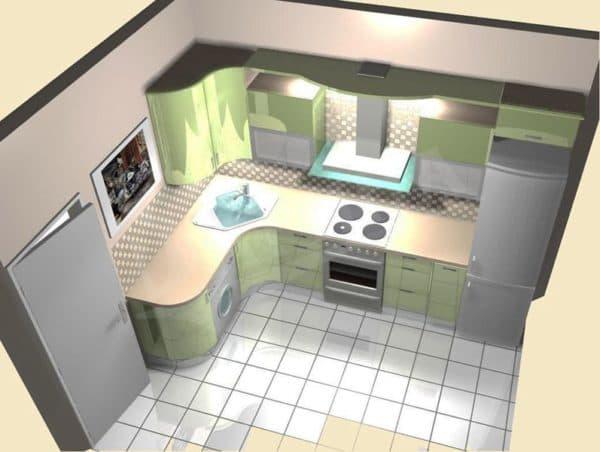 Планировка кухни 8 кв. м.