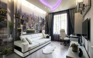 Фотообои в интерьере гостиной: красивые идеи, за диваном, телевизором