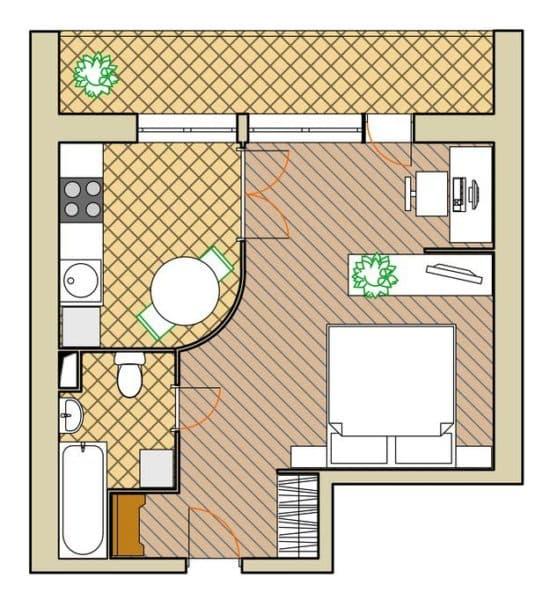 Планировка однокомнатной квартиры в брежневке