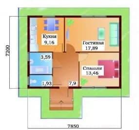 Планировка дома 50 кв метров