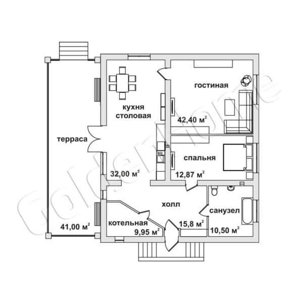Планировка одноэтажного строения