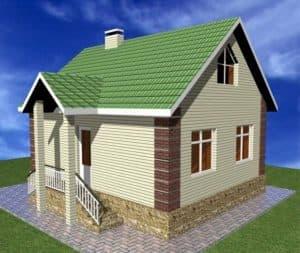одноэтажный дом с мансардой 6 на 9