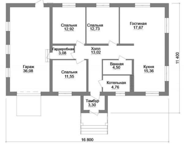 Пример одноэтажного дома с тремя спальнями