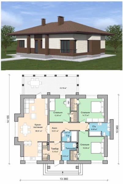 Пример планировки дома с тремя спальнями