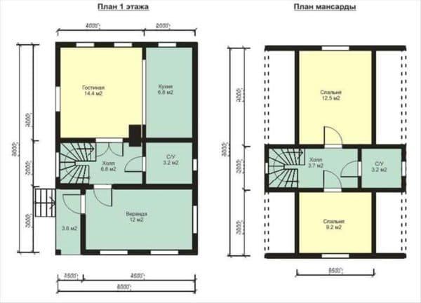 Планировка дома с мансардой 6 на 9