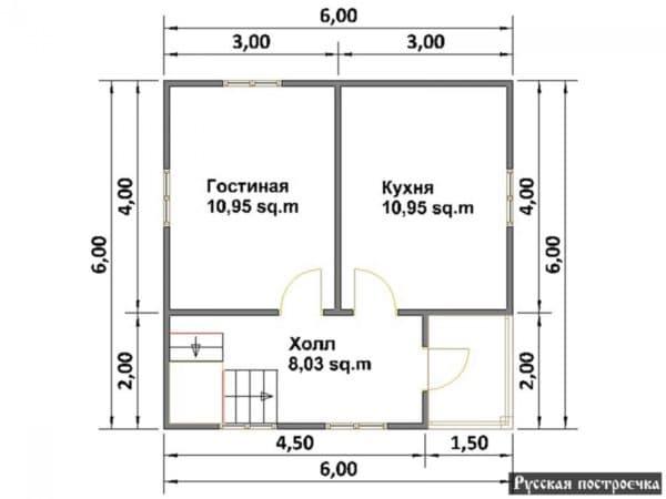 Первый этаж дом 6 на 6