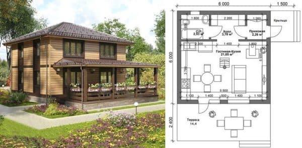 Планировка двухэтажного дома 6 на 6