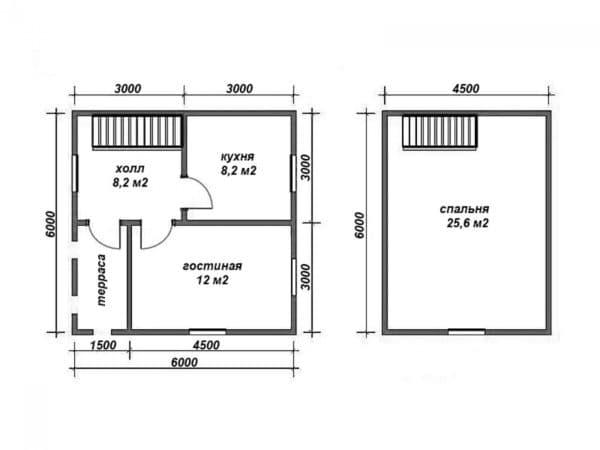 Планировка двухэтажного дачного дома 6 на 6