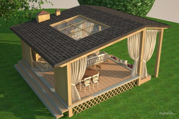 Интересная крыша у летней кухни
