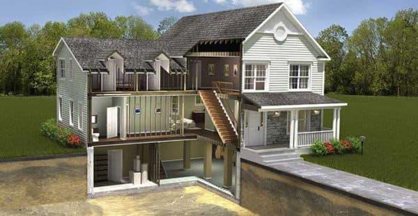 Дом с цокольным этажом (разрез)