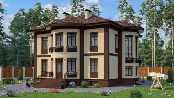 Двухэтажный дом с цокольным этажом