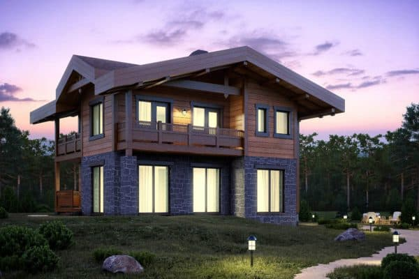 Комбинированный дом из пеноблоков и дерева