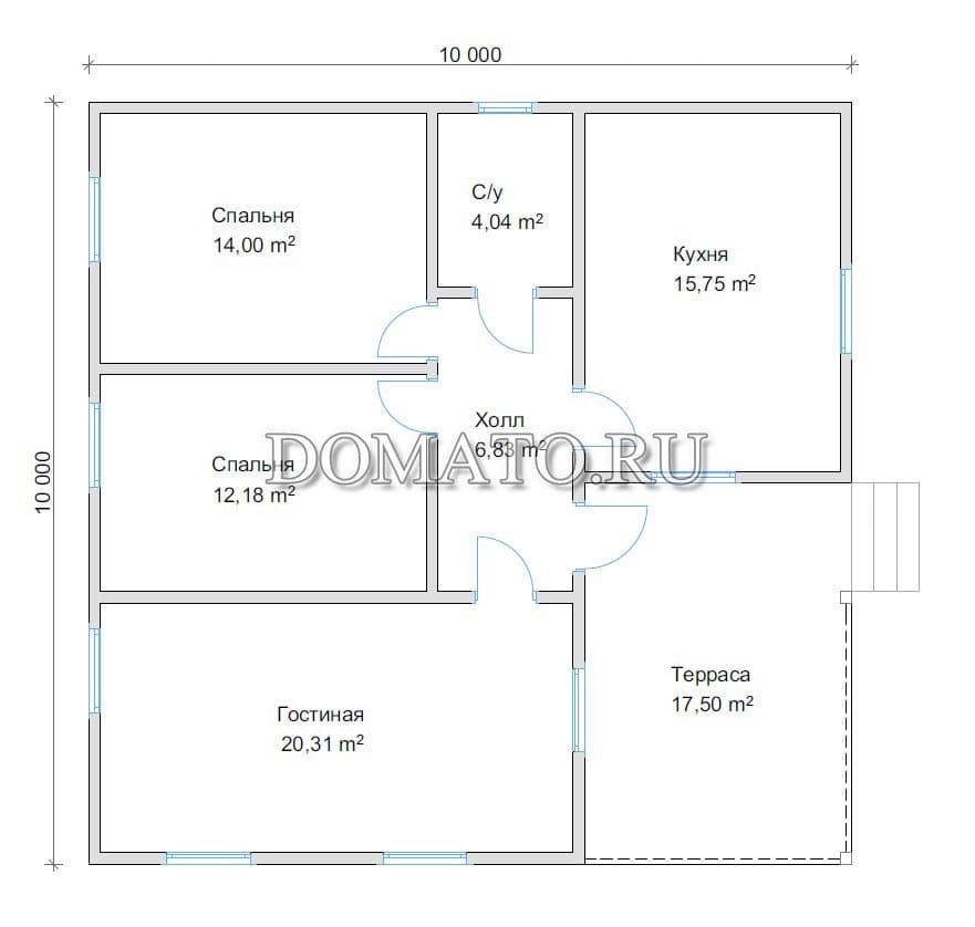 Пример планировки дома 10х10